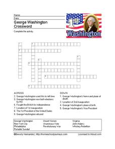 George Washington Crossword Worksheet