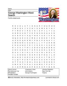 George Washington Word Search Worksheet