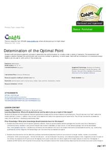 Determination of the Optimal Point Lesson Plan