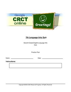 Georgia CRCT - 7th Grade Language Arts Quiz Worksheet