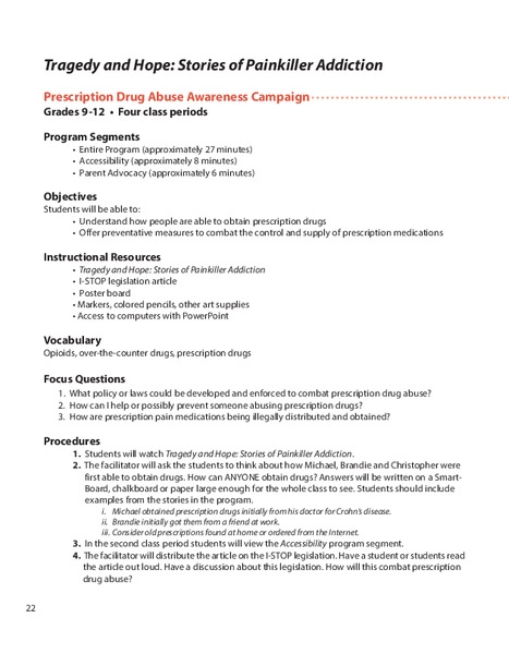 Stories of Painkiller Addiction: Prescription Drug Abuse Awareness Campaign Lesson Plan