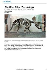 The Dino Files: Triceratops Worksheet