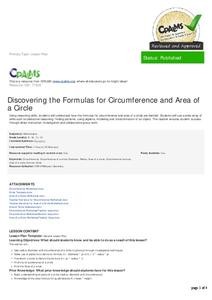 Discovering the Formulas for Circumference and Area of a Circle Lesson Plan
