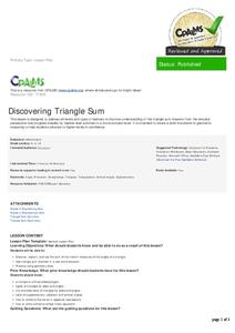 Discovering Triangle Sum Lesson Plan