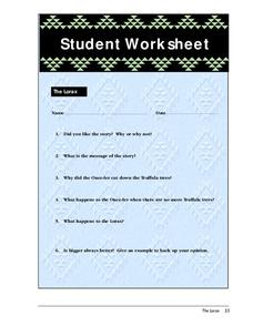 Student Worksheet-The Lorax Worksheet