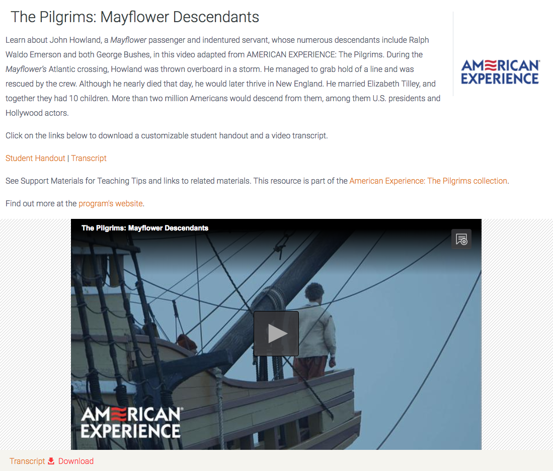 The Pilgrims: Mayflower Descendants Video