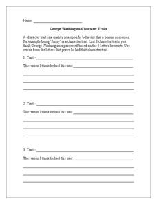 George Washington Character Traits Worksheet