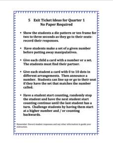 Exit Ticket Ideas: Math Assessment
