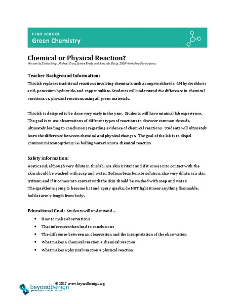 Chemical or Physical? Lesson Plan for 9th - 12th Grade
