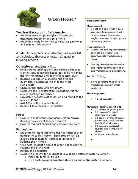 Green House? Handouts & Reference