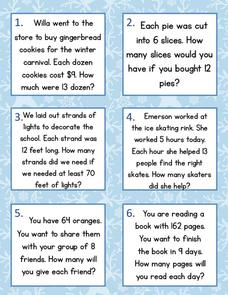 Winter Multiplication and Division Problem Solving Task Cards Graphic Organizer