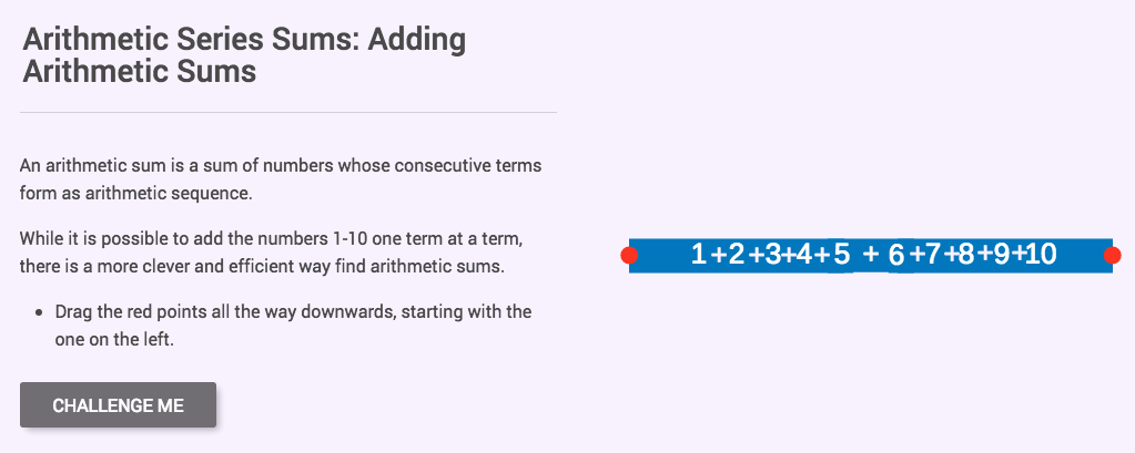 Arithmetic Series Sums: Adding Arithmetic Sums Interactive