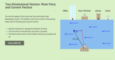 Two-Dimensional Vectors: River Ferry and Current Vectors Interactive