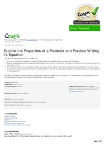 Explore the Properties of a Parabola and Practice Writing Its Equation Lesson Plan