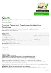 Exploring Systems of Equations using Graphing Calculators Lesson Plan