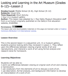 Looking and Learning in the Art Museum — Lesson 2 Lesson Plan