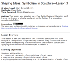 Shaping Ideas: Symbolism in Sculpture—Lesson 3 Lesson Plan