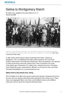 Selma to Montgomery March Worksheet