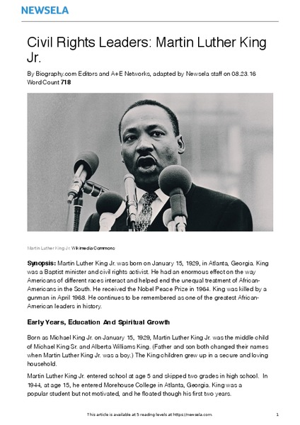 Civil Rights Leaders: Martin Luther King Jr. Worksheet