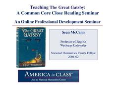 Teaching The Great Gatsby: A Common Core Close Reading Seminar Presentation