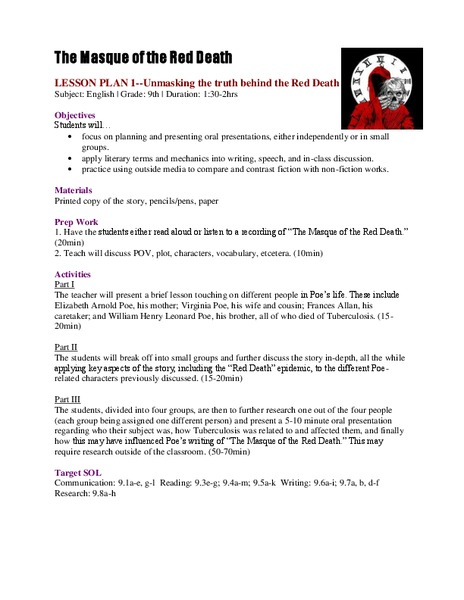 Unmasking the Truth Behind the Red Death Lesson Plan for 9th - 11th