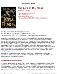 A Reader's Guide: The Lord of the Rings Worksheet
