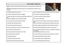 ben franklin aphorisms worksheet for 7th 12th grade lesson planet. Black Bedroom Furniture Sets. Home Design Ideas