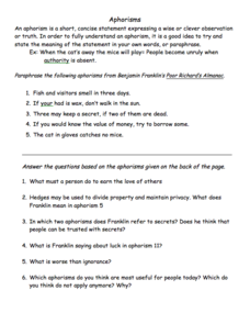 aphorisms worksheet for 5th 8th grade lesson planet. Black Bedroom Furniture Sets. Home Design Ideas