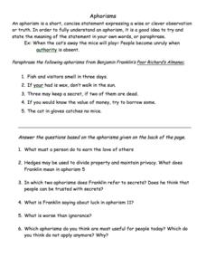 aphorisms worksheet for 5th 8th grade lesson planet. Black Bedroom Furniture Sets. Home Design Ideas