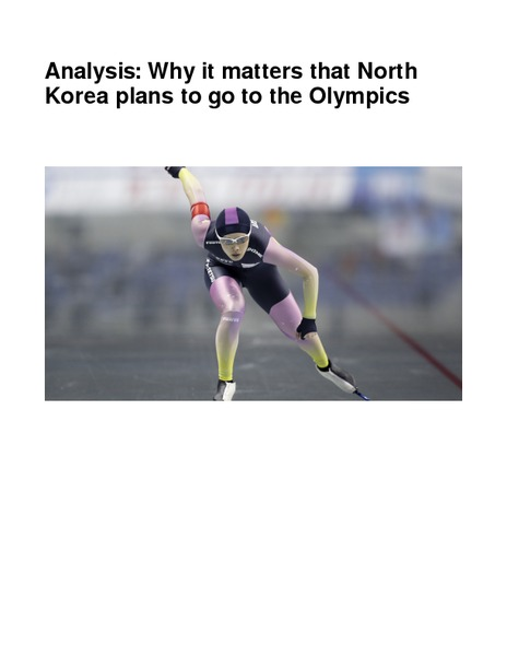 Analysis: Why It Matters That North Korea Plans to Go to the Olympics Worksheet