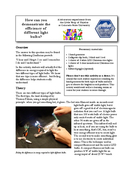 How Can You Demonstrate the Different Efficiencies of Different Light Bulbs? Lab Resource