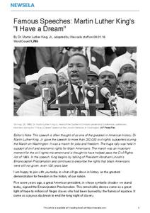 "Famous Speeches: Martin Luther King's ""I Have a Dream"" Worksheet"