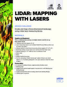 LIDAR: Mapping with Lasers Activities & Project
