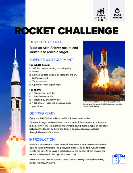 Rocket Challenge Activities & Project for 3rd - 12th Grade | Lesson