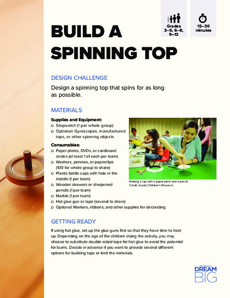 Build a Spinning Top Activities & Project