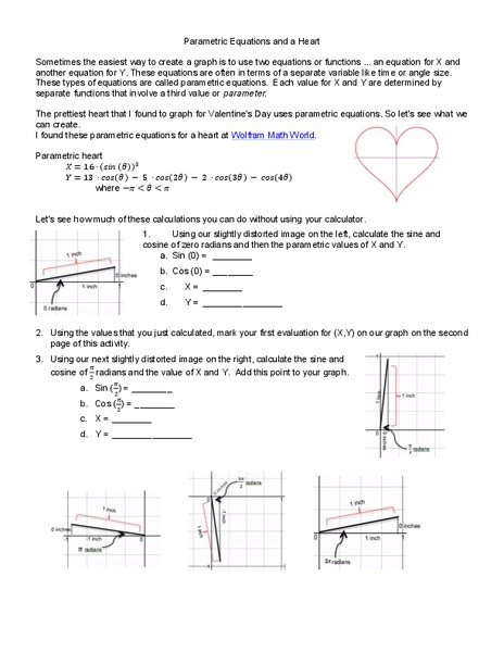Parametric Equations and a Heart Worksheet