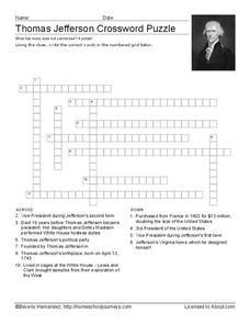 Thomas Jefferson Crossword Puzzle Worksheet