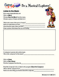 Listen to the Music Worksheet