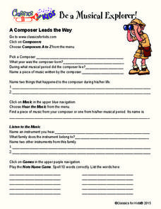 A Composer Leads the Way Worksheet