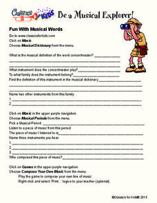 Fun With Musical Words Worksheet