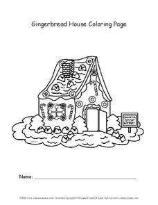 Gingerbread House Coloring Page Worksheet