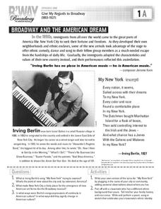 Broadway and The American Dream Activities & Project