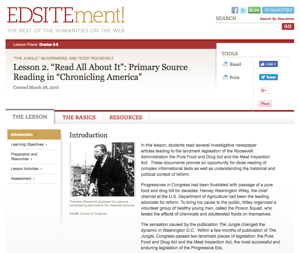 """Read All About It"": Primary Source Reading in ""Chronicling America"" Lesson Plan"