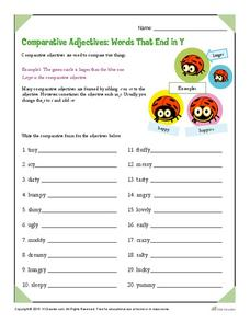 Comparative Adjectives: Words That End in Y Worksheet