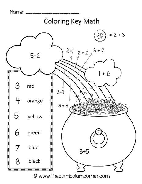 St. Patrick's Day Color Key Addition Worksheet for 1st