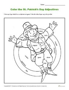 Color the St. Patrick's Day Adjectives Worksheet