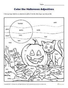Color the Halloween Adjectives Worksheet