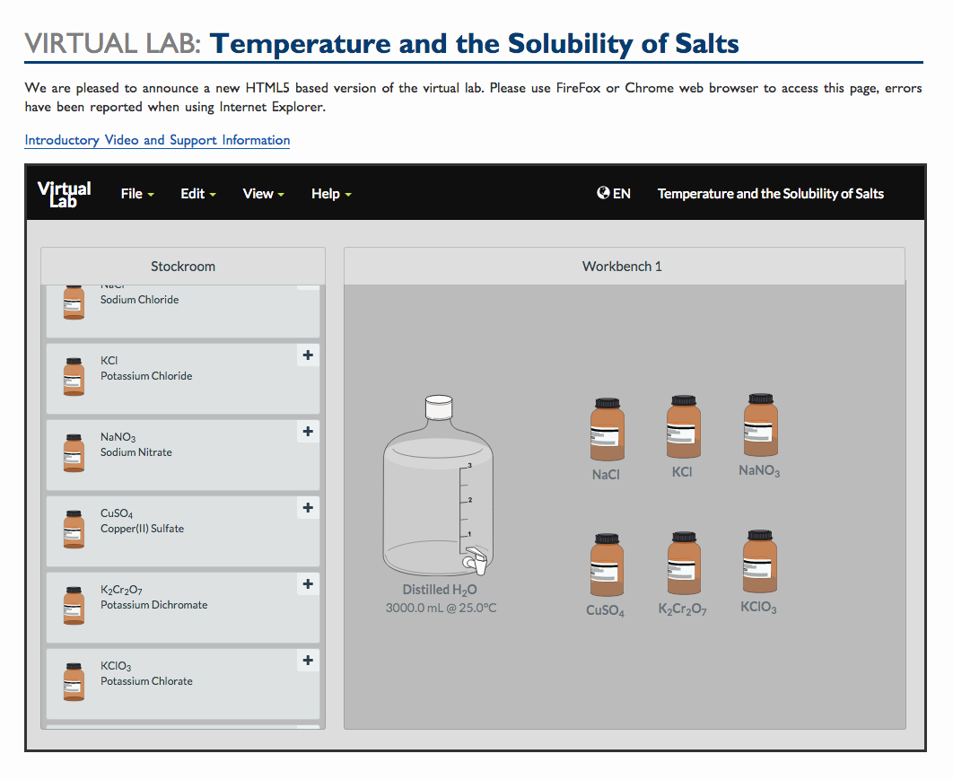 Virtual Lab: Temperature and the Solubility of Salts Interactive