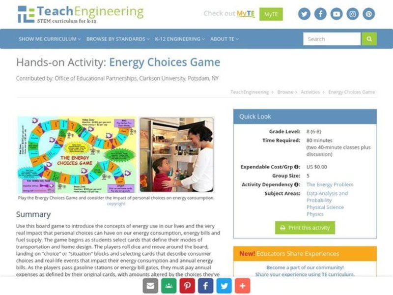 Energy Choices Game Activities & Project