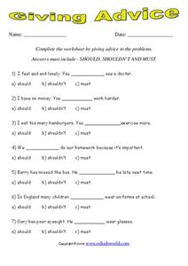Giving Advice Worksheet